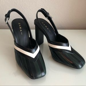 ZARA Black Green Striped Heels 38